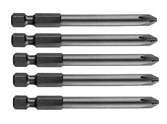 "PH#1 Phillips 3"" Power Bit - 5 Pack - BluSteel"